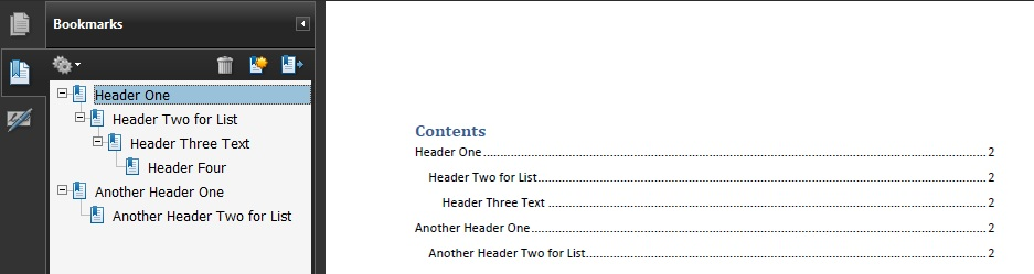 PDF document showing the Table of Contents and Bookmarks created from the headings in a Word document.