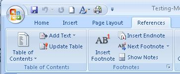Reference tab on Word ribbon, showing Table of Contents tool.