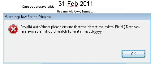 Error alert for date with unrecognized format or value.
