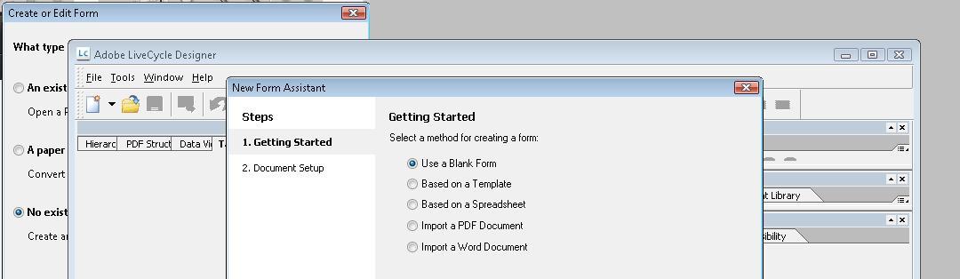 スクリーンショット: LiveCycle Designer と新規フォームアシスタントの最初のページ