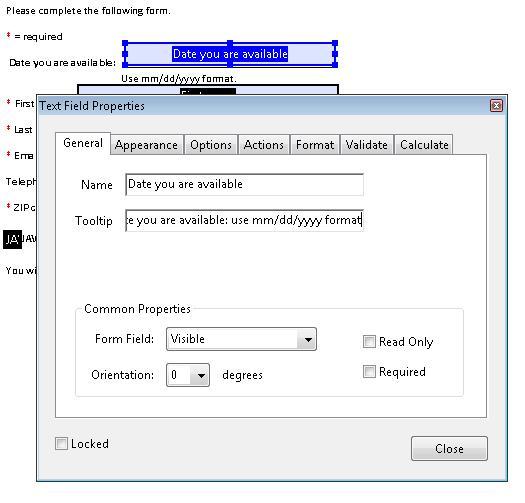 テキストフィールドを変更するための[テキストフィールドのプロパティ]ダイアログボックス