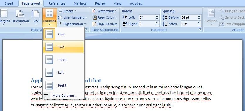 スクリーンショット: Wordの段組みツールで、ページを二段組みにするために「2段」が選択されている。