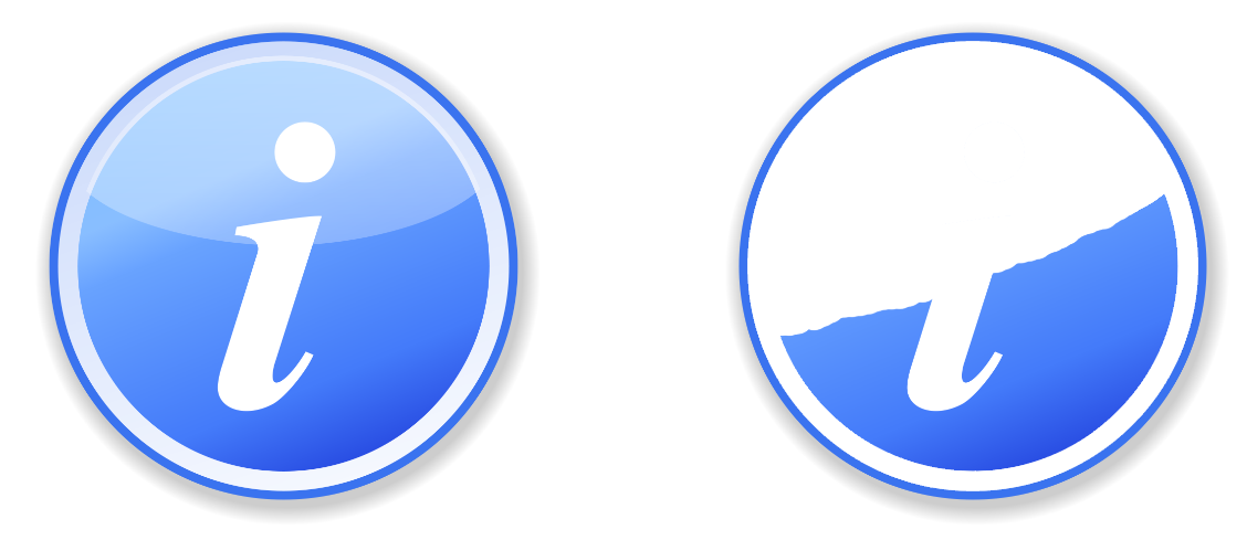 Two versions of a blue circle with an 'i' indicating information. The first example has a blue gradient background, the second is missing the upper half of the background which obscures the i.