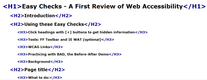 Easy Checks - A First Review of Web Accessibility | Web