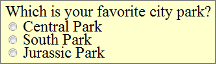 radio buttons for 'what is your favorite park' with 3 parks listed