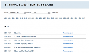 Screenshot of W3C Standards showing XQuery and XPath 3.1 documents