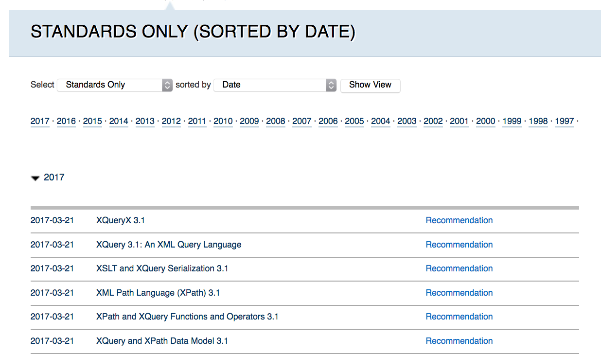 screenshot of w3c standards showing xquery and xpath 31 documents