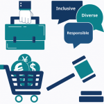 icons: briefcase, shopping cart, gavel, speech bubbles