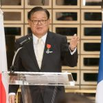 Jun Murai speaking after receiving the Knight of the Legion of Honour Medal. Photo by Susumu ISHITO.
