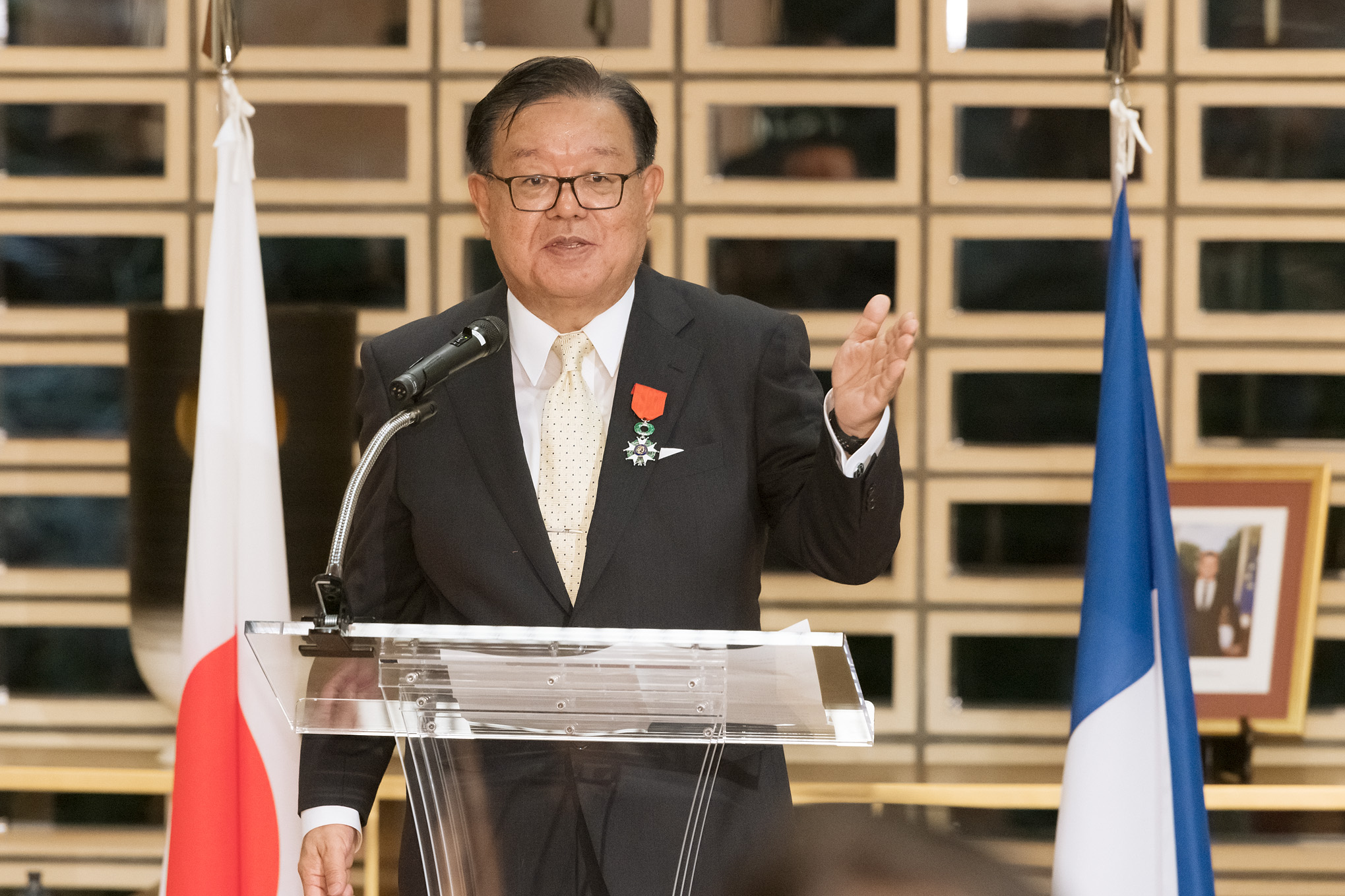 Jun Murai speaking after receiving the Knight of the Legion of Honour Medal.