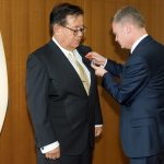 Laurent Pic decorating Jun Murai with the Knight of the Legion of Honour Medal. Photo by Susumu ISHITO.