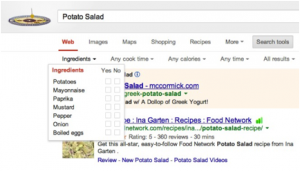 Google search filtered on Schema.org/Recipe properties, such as ingredients.
