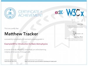 Example of a W3Cx Verified Certificate