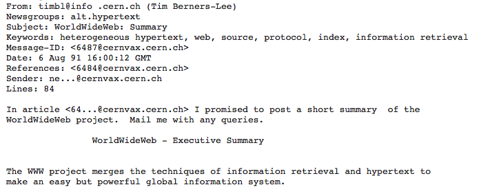 6 August 1991 usenet post by Tim Berners-Lee