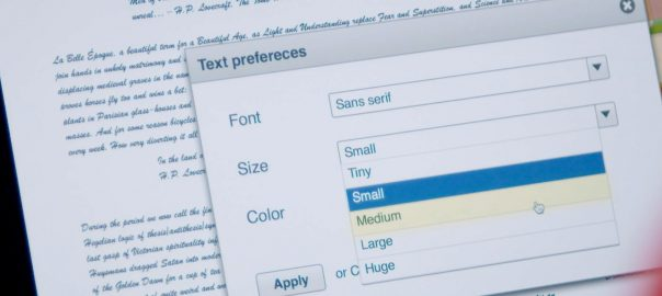 Text preferences in a web browser
