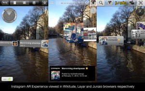 screenshot of Augmented Reality (AR) content encoded in ARML 2.0 displayed in Wikitude, Layar and Junaio browsers respectively