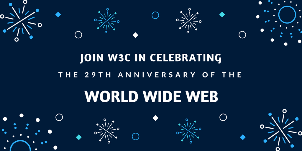 graphic with the text: Join W3C in celebrating the 29th anniversary of the World Wide Web