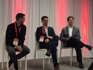 Andre Lyver, Anthony Valle Dubois and Ian Jacobs on stage at Payments Canada