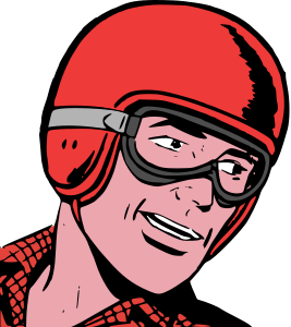comics illustration of a man wearing a helmet and   goggles