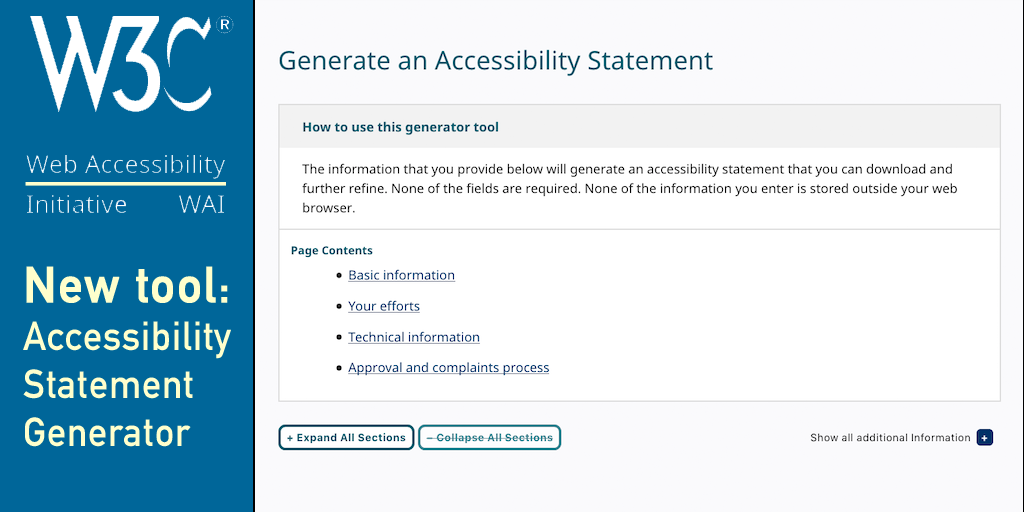 Graphic showing a screenshot of the accessibility statement generator, the W3C and WAI icons and the title of the tool