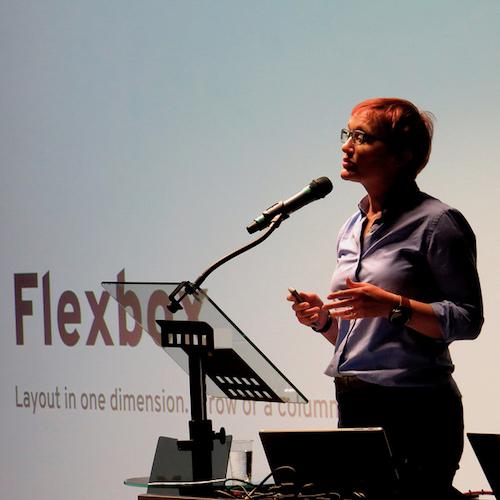 Rachel Andrew presents at W3C developer meetup in Lyon, 2018