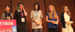 Speakers at the W3C DevMeetup 2019, Fukuoka, Japan. From left to right: Lin Clark, Ada Rose Cannon, Melanie Richards, Alice Boxhall