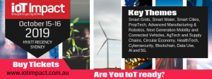 small visual banner for IoT IMPACT 2019 15-16 October 2019 in Sydney, Australia; showing key themes of the event