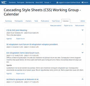 Prototype of a group calendar view
