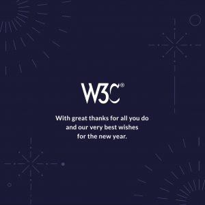 W3C end of year card with W3C logo, text, and illustrations of fireworks