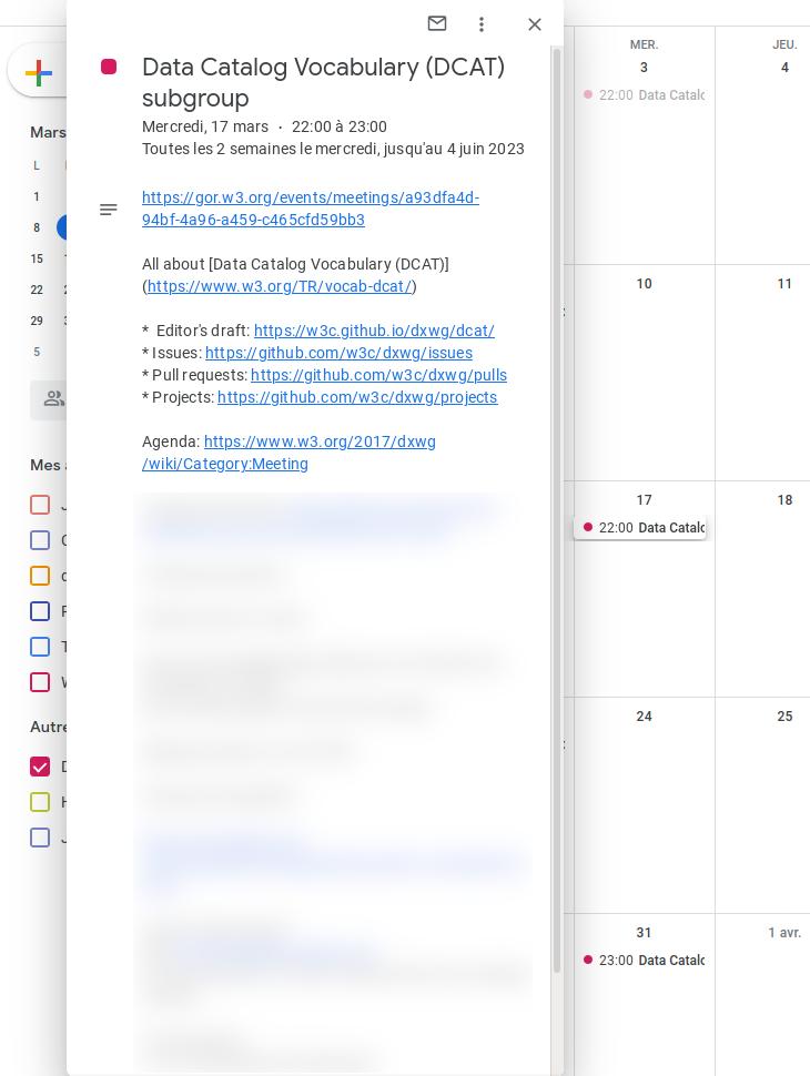 screenshot of An event as viewed from a calendaring client