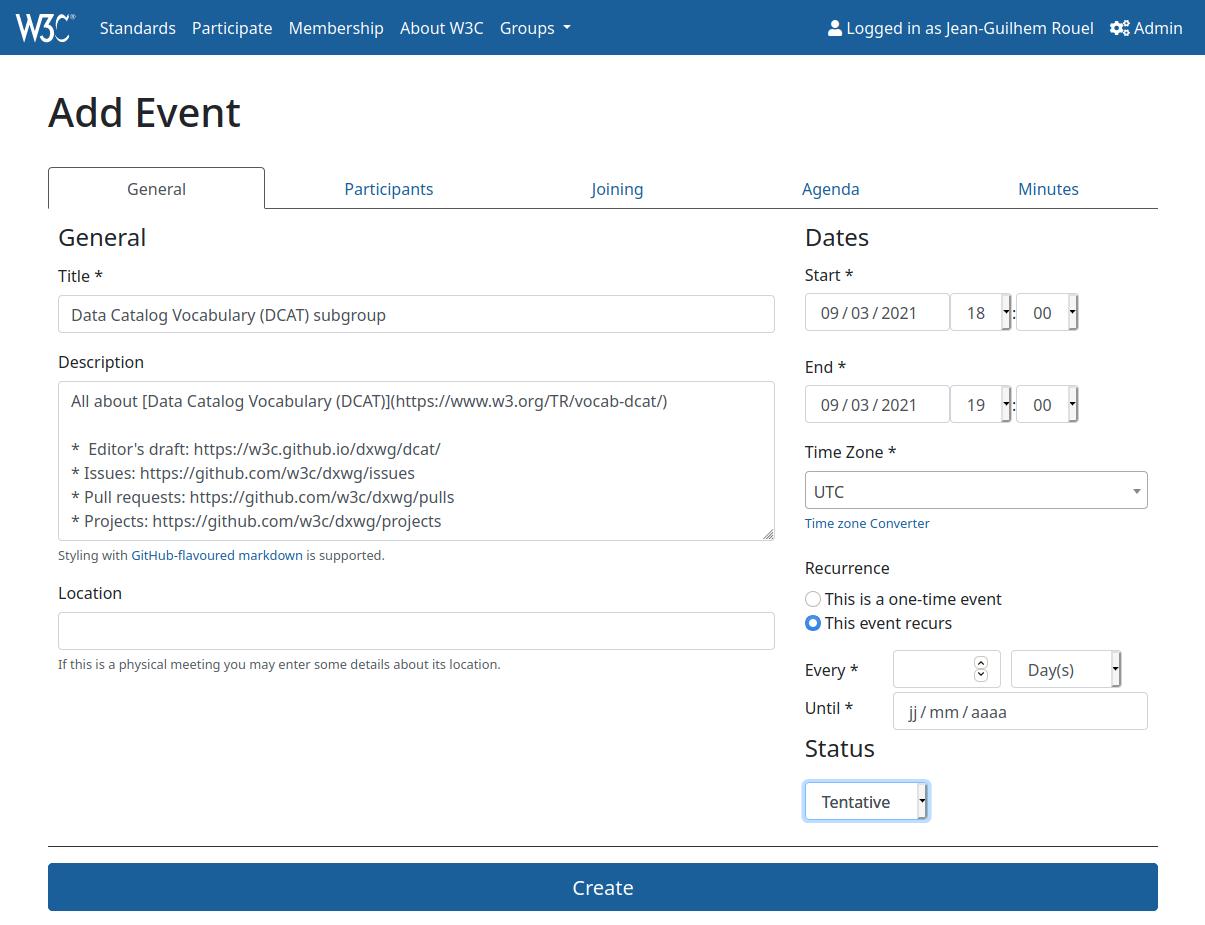 screenshot of Edit general information