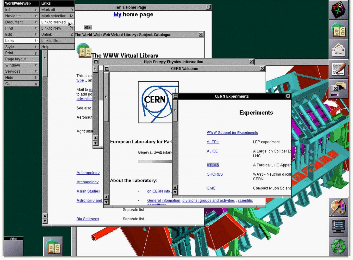 Screenshot of the early world wide web, showing the CERN's website