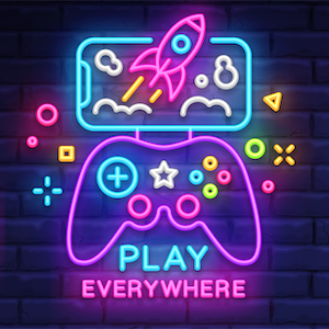 Illustration showing play everywhere in neon signs