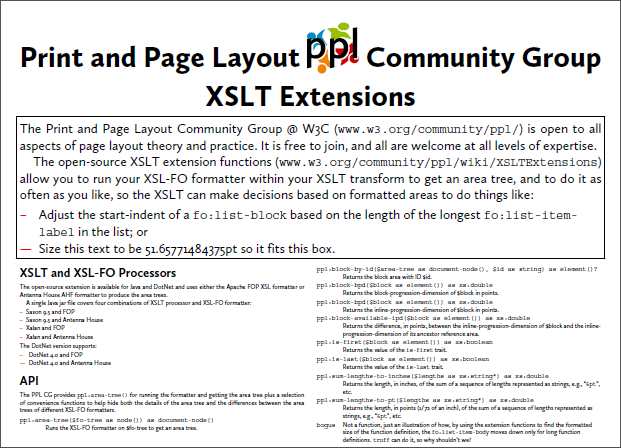 Print Page Layout Community Group Xslt Extensions Balisage 2014