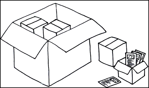 boxes and flyers to represent block and inline elements