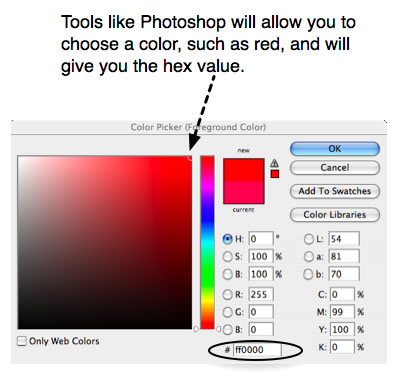 Photoshop colour picker will give you the hex value of your colour