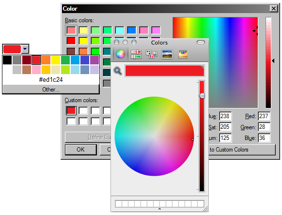 un campo de entrada color y los selectores de color nativos de Windows y OS X