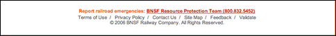 footer of bnsf.com.