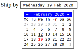 A calendar picker graphical widget.