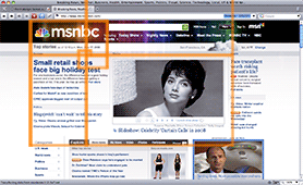 A screen capture of msnbc.msn.com with the first seven golden rectangles superimposed on the layout.
