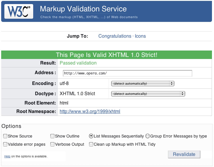 The w3c validator showing the page is valid xhtml 1.0 strict