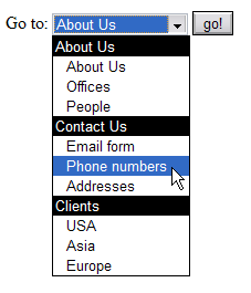 Screenshot of a menu created with a select boxincluding option groups